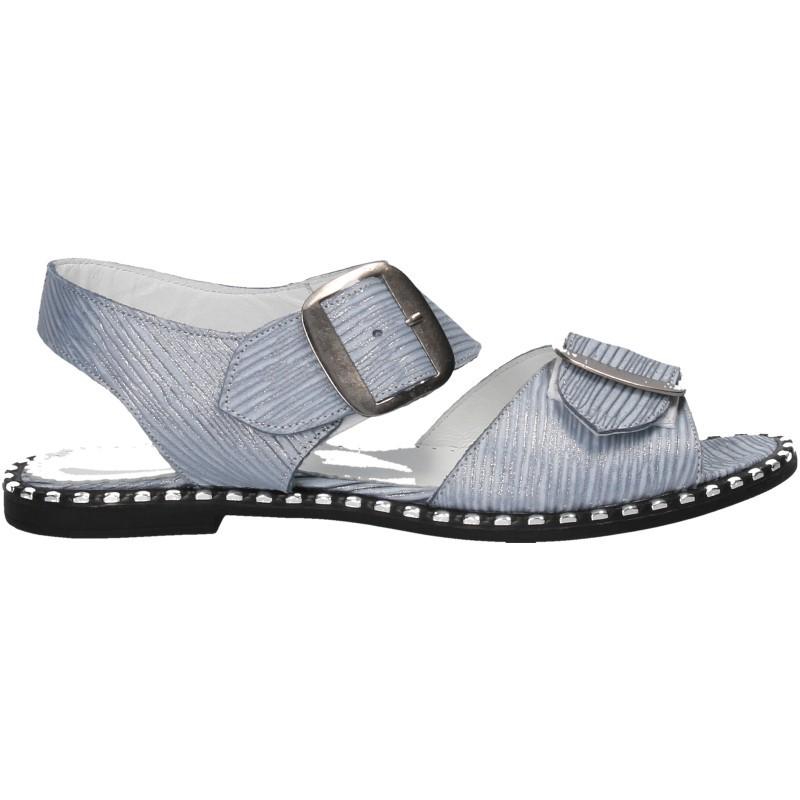Sandale glamour, albastre, piele