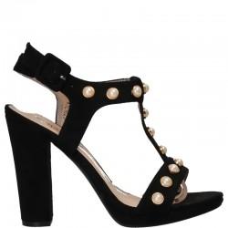 Sandale fashion negre, cu perle