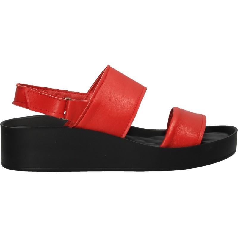 Sandale rosii, stil urban, piele naturala