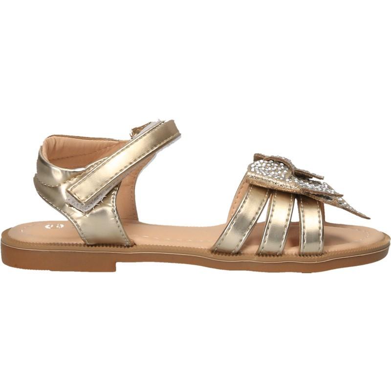 Sandale aurii, cu funda, pentru fete