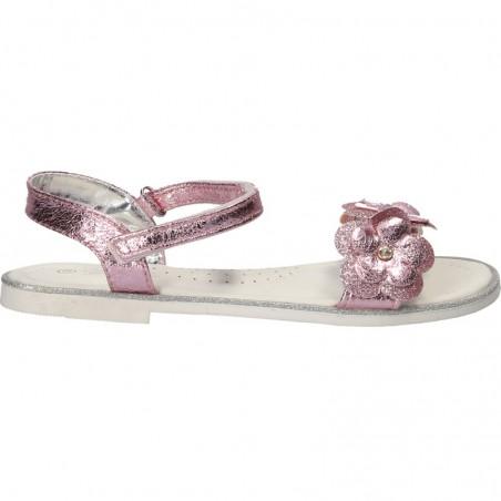 Sandale fetite, roz metalizat, cu flori