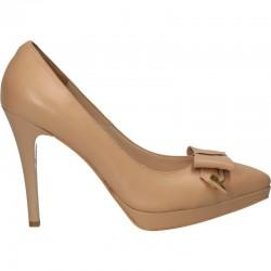 Pantofi platforma mica, piele naturala