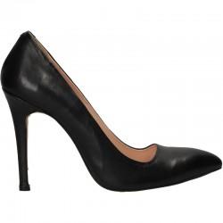 Pantofi gala, negri, toc inalt, piele