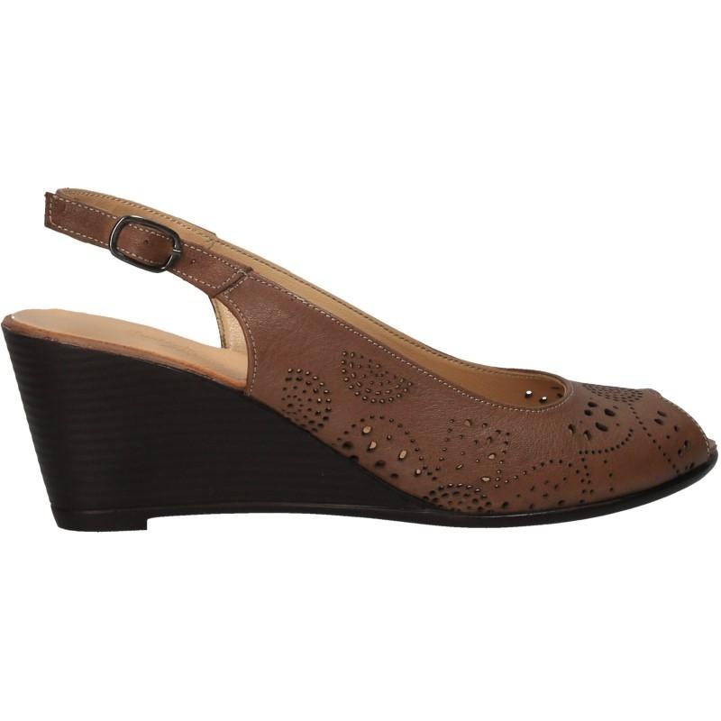 Sandale cu platforma, din piele