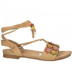 Sandale casual, cu flori, siret pe picior