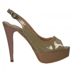 Sandale fashion, piele lacuita, platforma, toc
