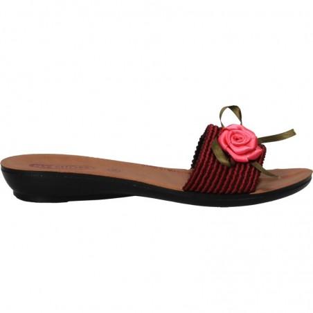 Papuci clasici, de dama, cu decor trandafir