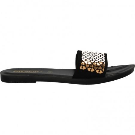 Papuci glamour, aurii, pentru femei