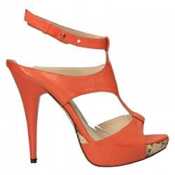 Sandale fashion, portocalii, din piele