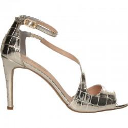 Sandale de gala, aurii, din piele naturala
