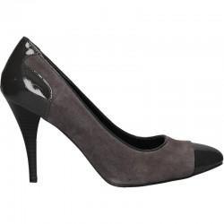 Pantofi gri, din velur, pentru femei
