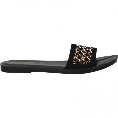 Papuci de dama, moderni, negru cu auriu