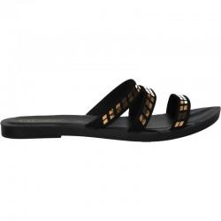 Papuci de dama, simpli, negru cu auriu