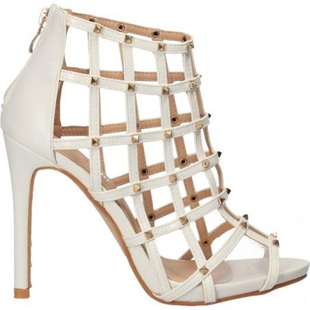 Sandale fashion, albe, cu toc inalt