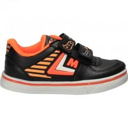 Pantofi copii sport, negru cu oranj neon