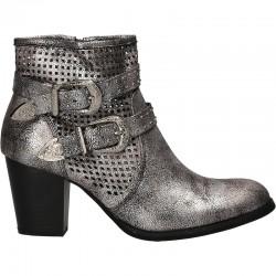 Botine fashion, argintii, cu perforatii