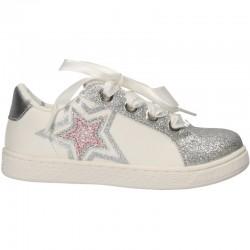 Pantofi albi, cu stea, pentru fete