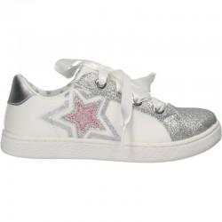 Pantofi albi, cu sclipici, pentru fetite