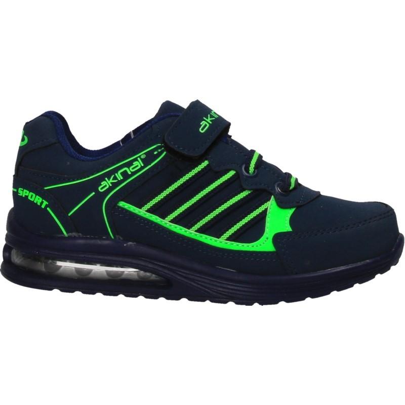 Pantofi sport baieti albastru cu verde