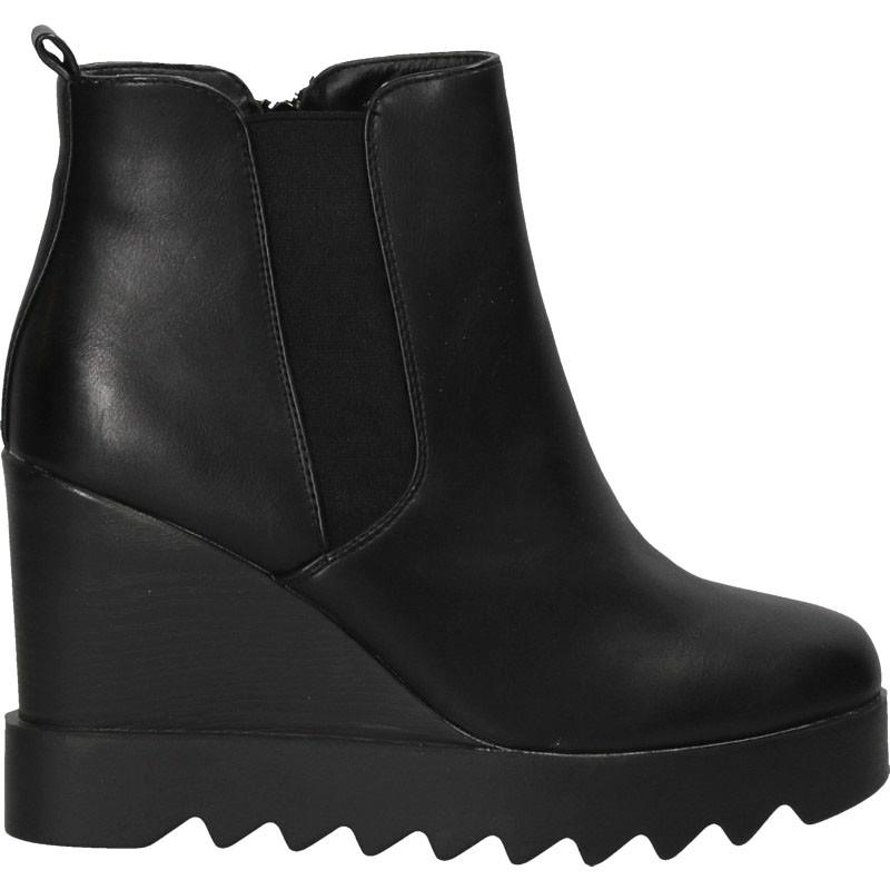 Botine fashion, negre, cu platforma inalta