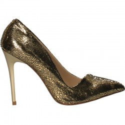 Pantofi aurii de gala, toc inalt