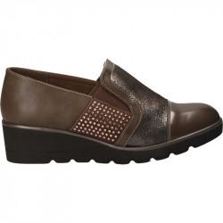 Pantofi cu talpa plina, maro, cu elastic