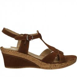 Sandale piele velur, platforma medie
