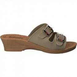 Saboti femei Fly Shoes, crem