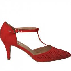 Pantofi femei eleganti,  imitatie velur rosu