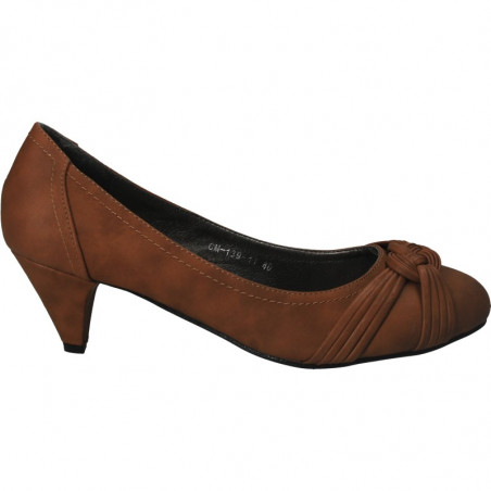 Pantofi maro, fashion, de dama, cu toc comod