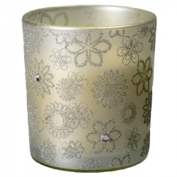 Lumanare in pahar alb cu decor argintiu