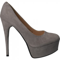 Pantofi femei extravaganti, din textil gri