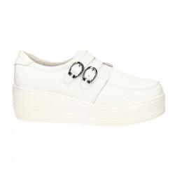 Pantofi Femei sneakers, albi cu catarama