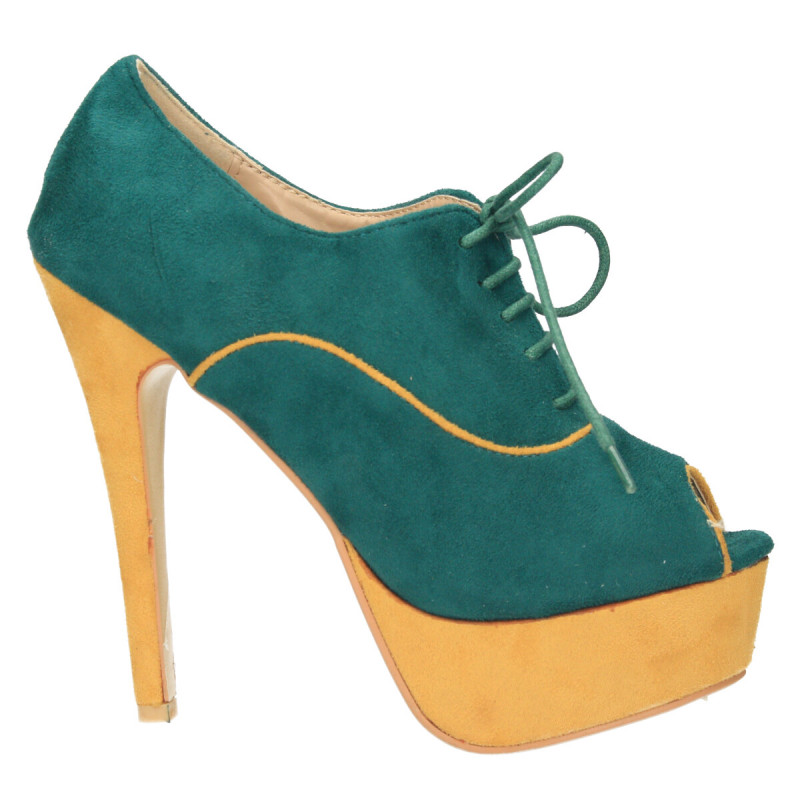 Pantofi femei, extravaganti, verde-galben