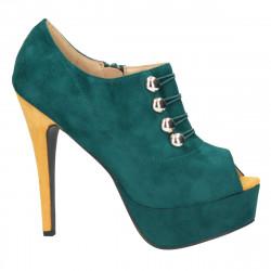 Pantofi femei, extravaganti, verzi cu capse