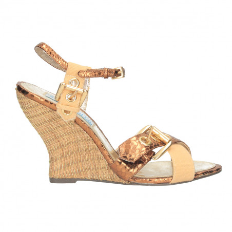 Sandale fashion, bronz, cu catarama