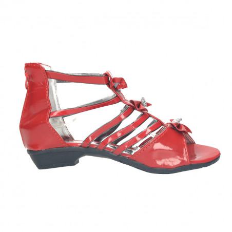 Sandale rosii, cu strasuri mari, pentru fete