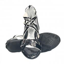 Sandale negre, cu nasturi...