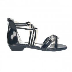 Sandale negre, cu nasturi decorativi, pentru fete