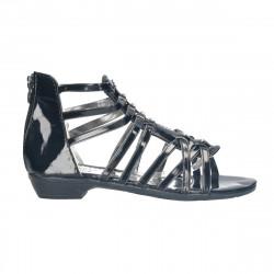 Sandale negre, cu strasuri, pentru fete