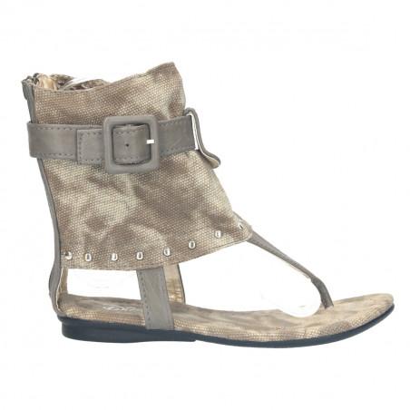 Sandale fete, din piele ecologica si material textil, verzi, cu capse