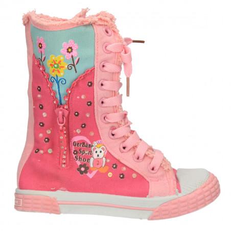 Ghete lungi, de vara, roz, din material textil, pentru fete