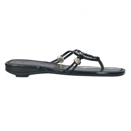 Saboti flip flops, negri, cu decor metalic, pentru femei