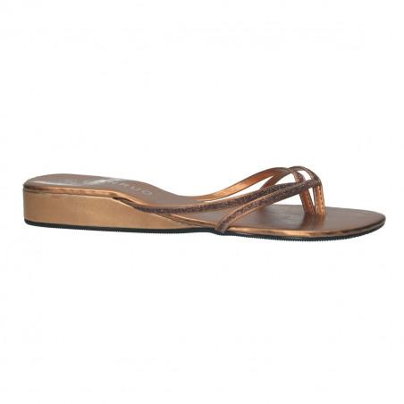 Saboti flip flops, culoarea bronz cu sclipici