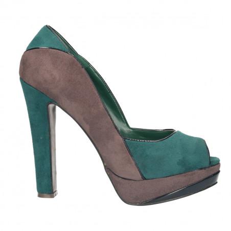 Pantofi dama, fashion cu platforma, decupati gri cu verde