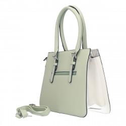 Poseta eleganta, mijlocie, verde cu alb