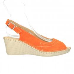Sandale, platforma medie, piele naturala