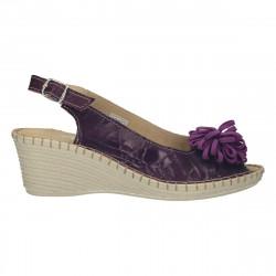 Sandale piele naturala, cu floare