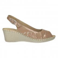 Sandale dama, bej, din piele lacuita
