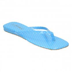 Saboti dama, flip flops, albastrii cu buline albe